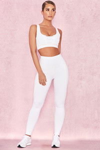 Expoilt White Leggings with Contast Piping