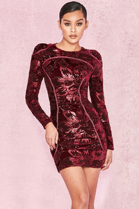 Lenore Plum Velvet and Sequin Mini Dress