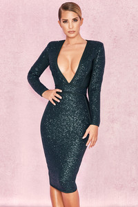 Siena Evergreen Sequin and Bandage Deep Plunge Dress