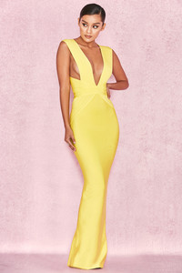 Ysabel Acid Yellow Bandage Maxi Dress