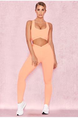 Exile Pastel Neon Orange V Waist Leggings
