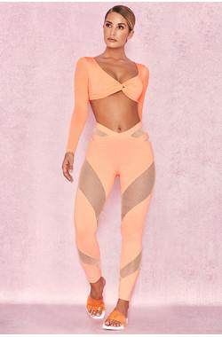 Tone Pastel Neon Orange Lycra + Mesh Leggings