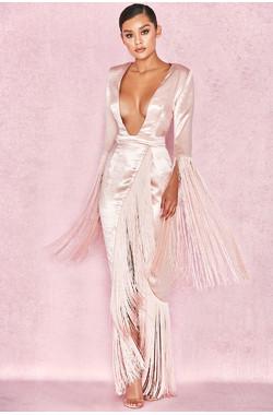 'Finola' Blush Satin Fringed Wrap Gown