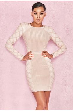 Yasina Champagne Sequin and Bandage Dress