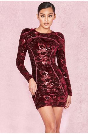 Lenore Plum Velvet and Sequin Mini Dress