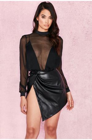 Miali Black Vegan Leather Wrap Mini