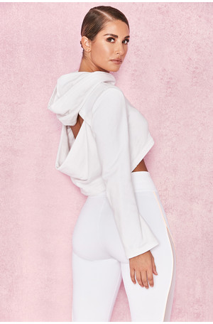 Vortex White Marl Backless Hoodie