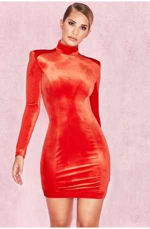 Ysabeau Orange Red Velvet Long Sleeve Dress