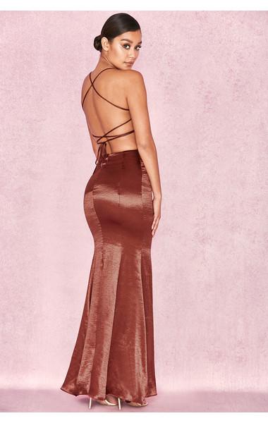 Nura Bronze Satin Maxi Dress with Tie Up Back