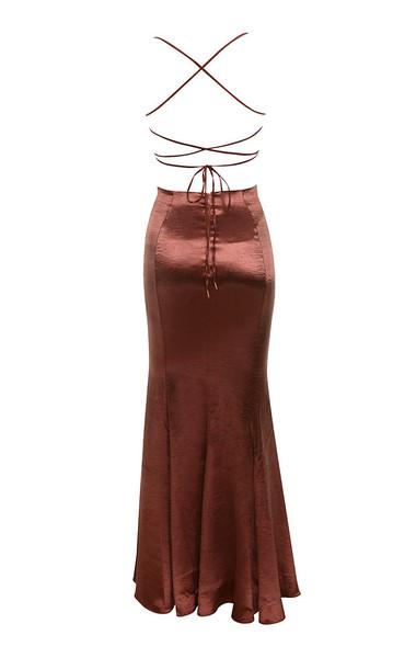 nura dress in bronze