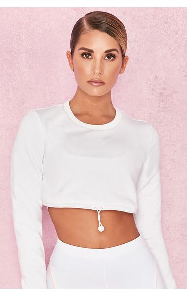 Prism White Silky Jersey Drawstring Sweatshirt