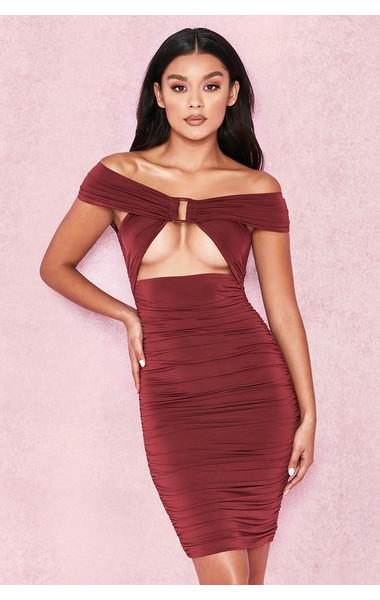 Tiggy Wine Off Shoulder Ruched Front Bardot Dress