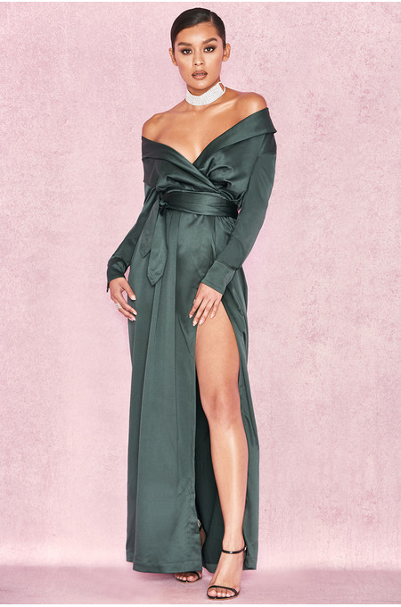 Antoinette Evergreen Satin Off Shoulder Maxi Wrap Dress