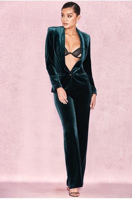 'Arla' EverGreen Velvet Two Piece Trouser Suit
