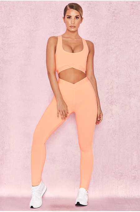 Exile Pastel Neon Orange V Waist Leggings