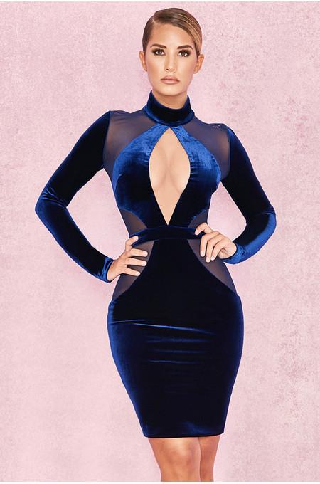 Davila Midnight Blue Velvet and Mesh Dress