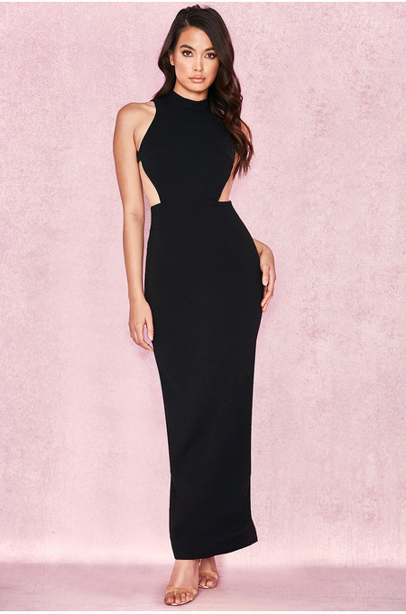 Lia Black Open Back Maxi Dress