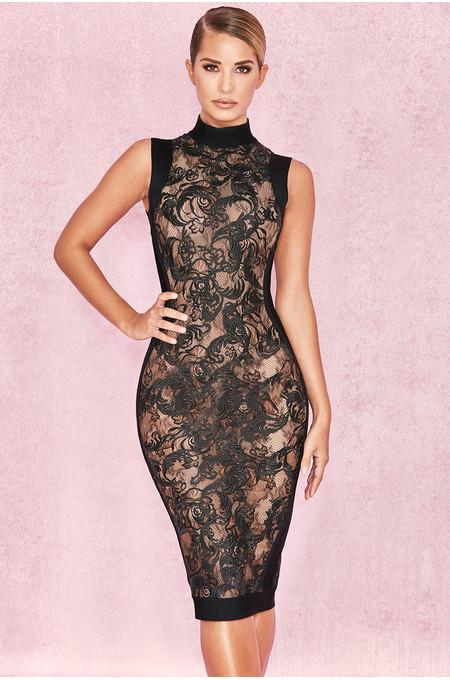 Merina Black Bandage & Lace Dress