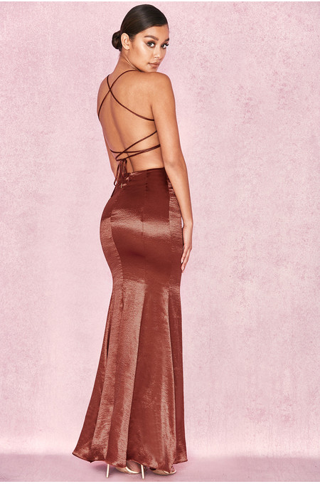 Nura Bronze Satin Maxi Dress with Tie Up Back