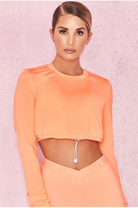 Prism Pastel Neon Orange Silky Jersey Drawstring Sweatshirt