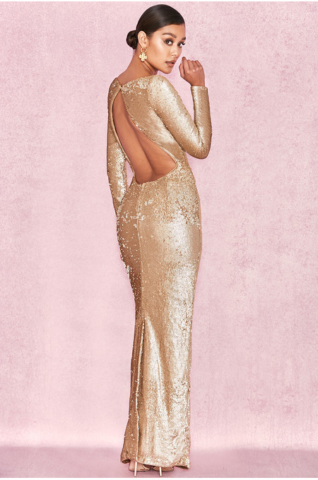 'Roqa' Gold Sequinned Scoop Back Maxi Dress