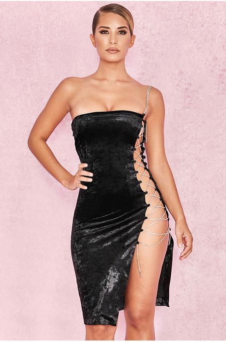 Sarran Black Crushed Velvet Side Lace Dress
