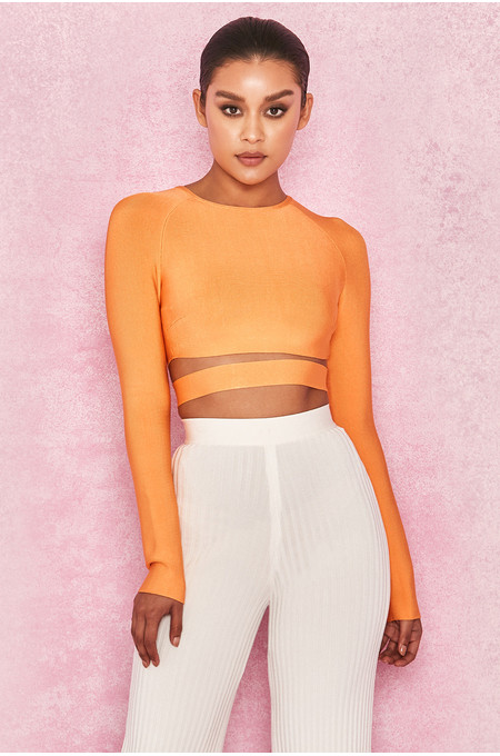 Talika Neon Orange Bandage Crop Top with Waistband