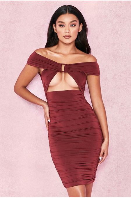 Tiggy Wine Off Shoulder Ruched Front Bardot Dress