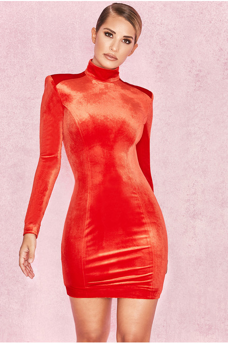 Ysabeau Orange Red Velvet Long Sleeve Dress