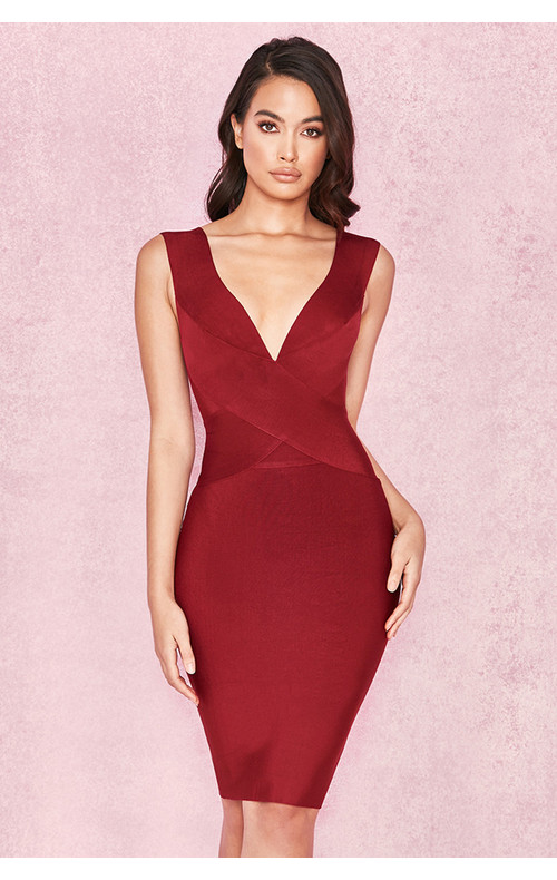 Ginevra Wine Cross Front Bandage Dress