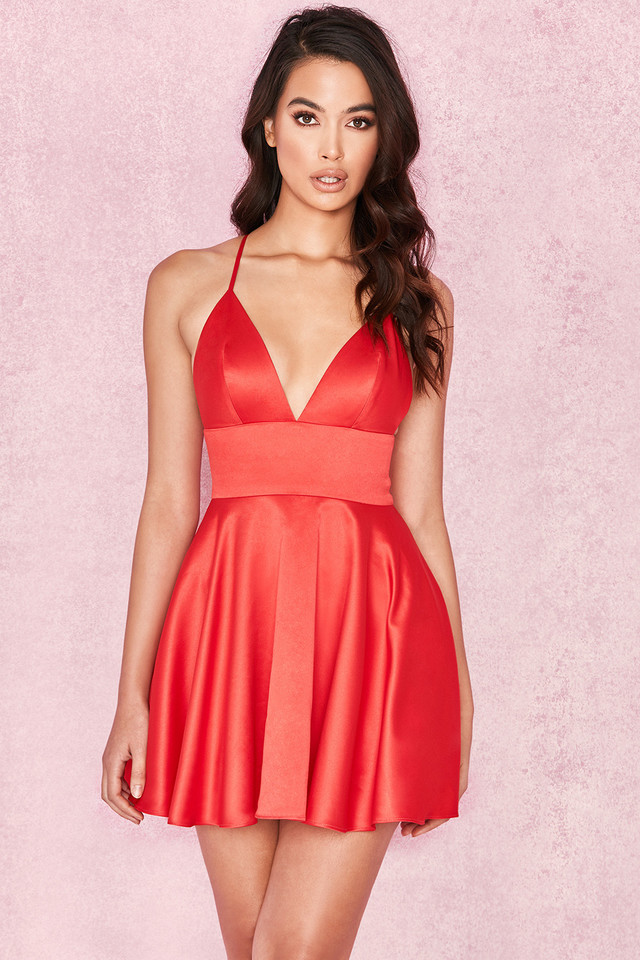 Dahna Red Satin Bralet Mini Dress