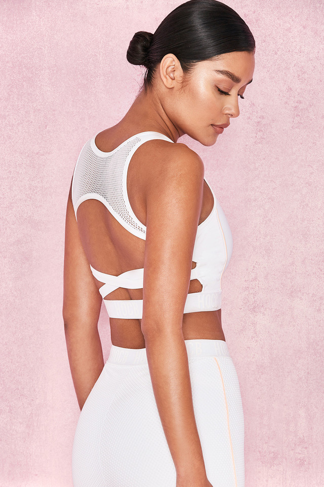 Exert White Airtex Backless Cropped Top