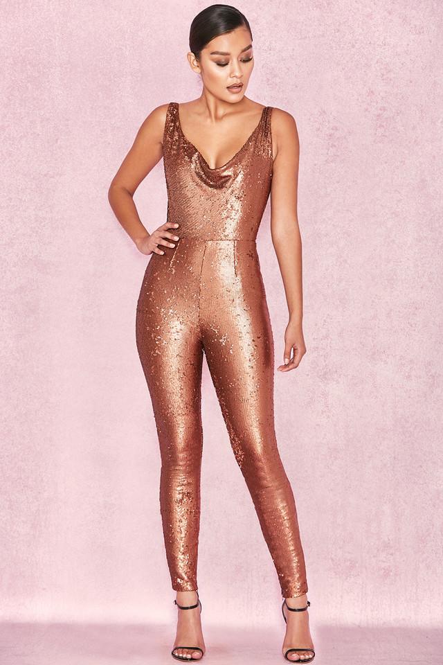 Tabitha Bronze Backless Sequin Jumpsuit