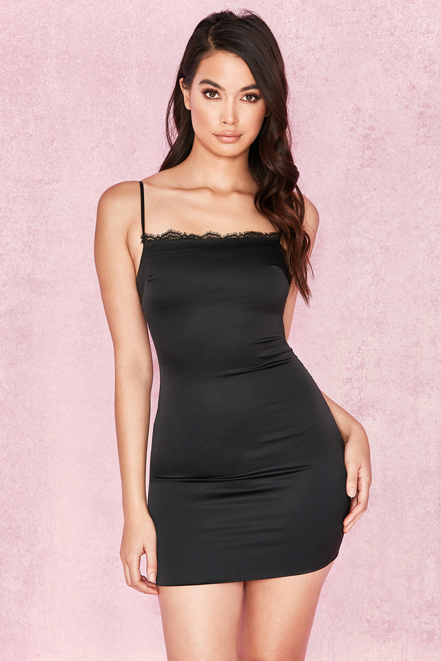 Tosci Black Satin Slip Dress