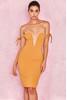 Lavinia Mustard Off Shoulder Deep Plunge Dress