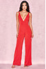 Leilah Red Plunge Neck Jumpsuit