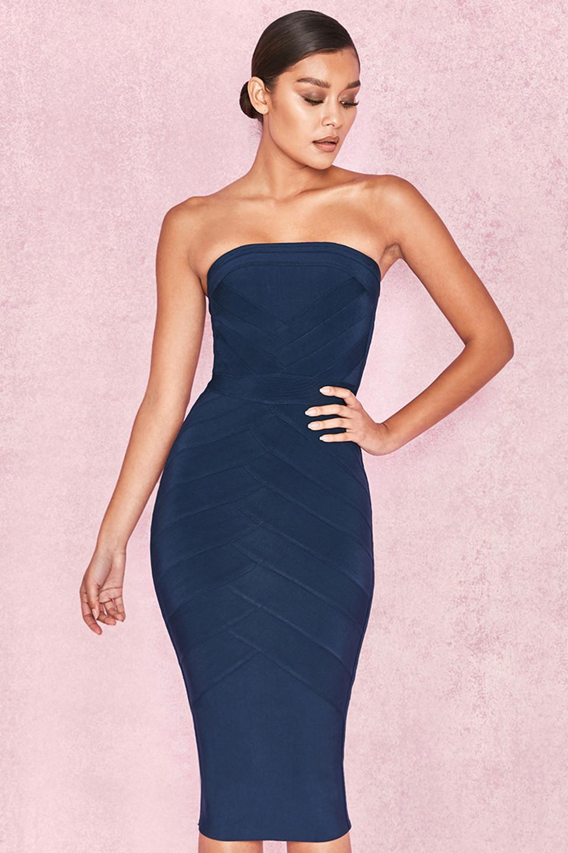 Amoura Midnight Blue Strapless Bandage Midi Dress