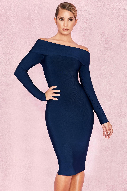 Anais Midnight Blue Bandage Bardot Dress