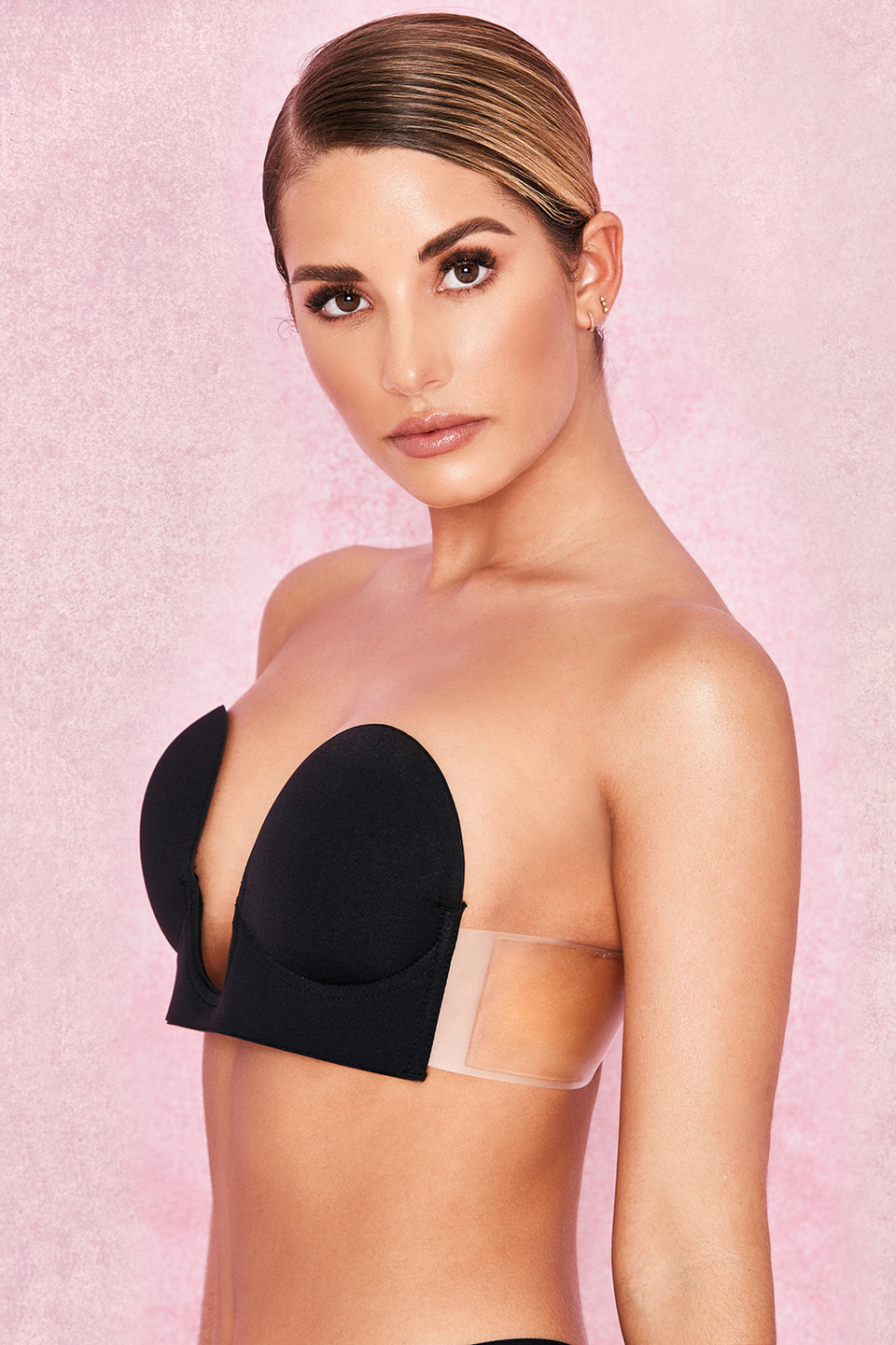 U Plunge Black Self Adhesive Bra