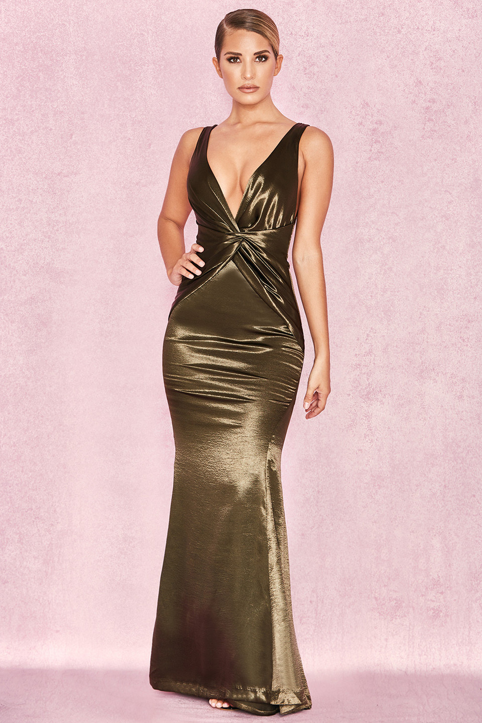 Zahra Olive Satin Drape Maxi Dress