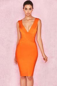 Ginevra Orange Cross Front Bandage Dress