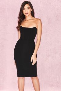 Niaz Black Stretch Crepe Strapless Bodice Dress