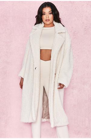 Bear Milk White Faux Fur Sherpa Coat