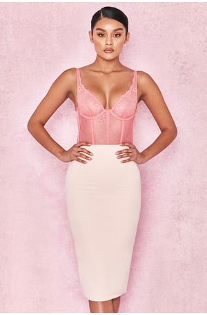Tamla Pale Pink Crepe Pencil Skirt