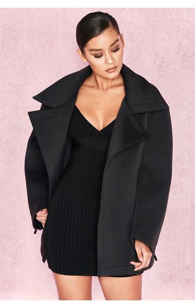 Colleta Black Neoprene Oversized Jacket