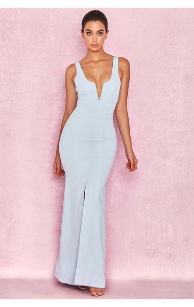 Macie Powder Blue V Front Maxi Dress