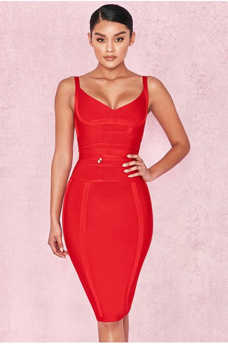 Belice Red Tie Waist Bandage Dress