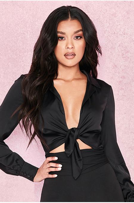 'Ornella' Black Silky Shirt Bodysuit