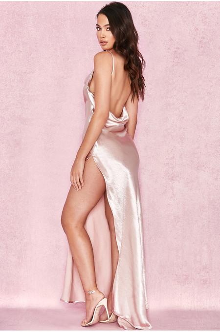 Tomasa Champagne Satin Draped Maxi Dress