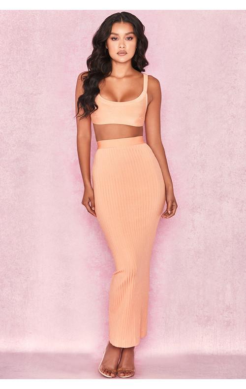 Eve Neon Peach Bandage Rib Maxi Skirt